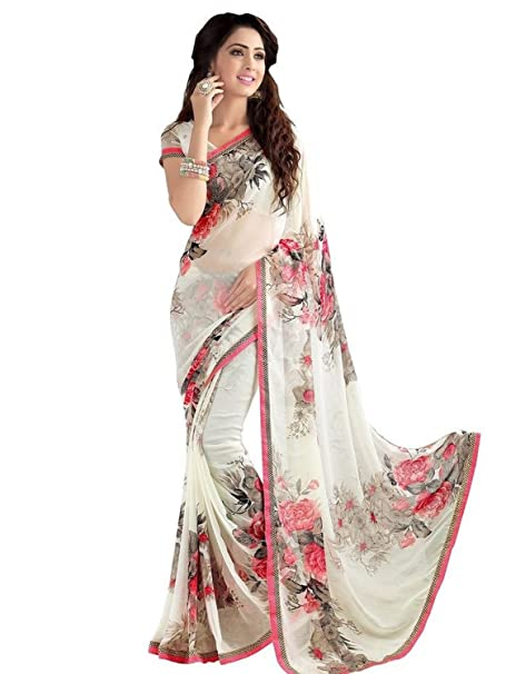 892d559c84d7 Peachmode Women's Off - White Floral Printed Georgette Saree: Amazon.in:  Clothing & Accessories