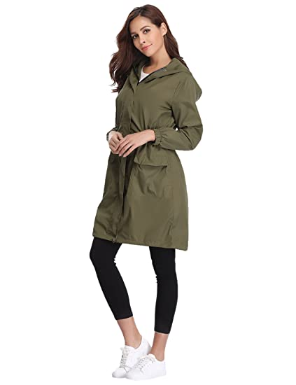1b497e1e9 Abollria Rain Jacket Women Waterproof with Hood Lightweight Active Outdoor  Raincoat Windbreaker