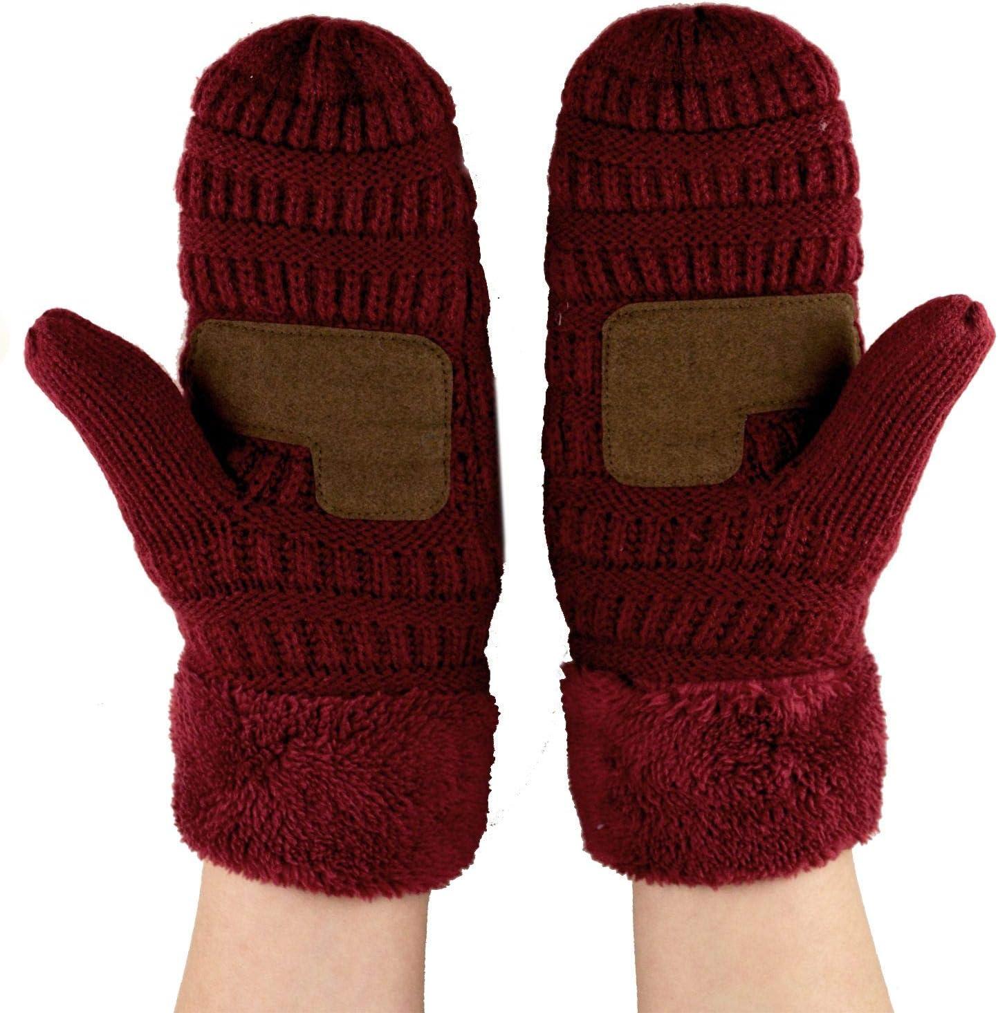 C.C Unisex Winter Warm Inner Fuzzy Lined Anti-Slip Cuff Mittens Dark Melange Gray