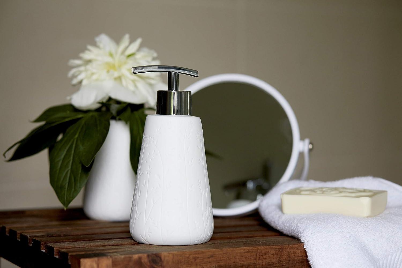 Wenko 22632100 Flora Bicchiere Porta spazzolini in Ceramica Bianca 8 x 8 x 11 cm