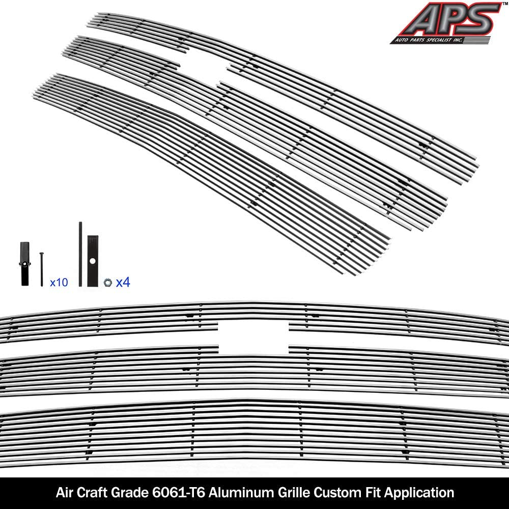 APS Compatible with 2007-2013 Chevy Silverado 1500 Aluminum Chrome Horizontal Billet Grille Insert Combo S18-A26876C