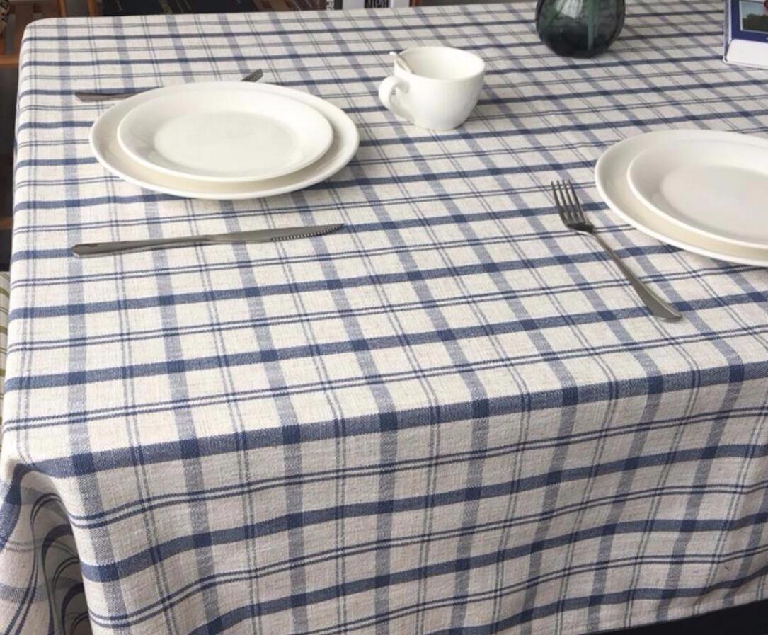 WFLJL tovaglia Ispessimento Tavolo da caffè Tavolo da Pranzo Lino e Cotone Escursioni Blu Reticolo 135  230cm