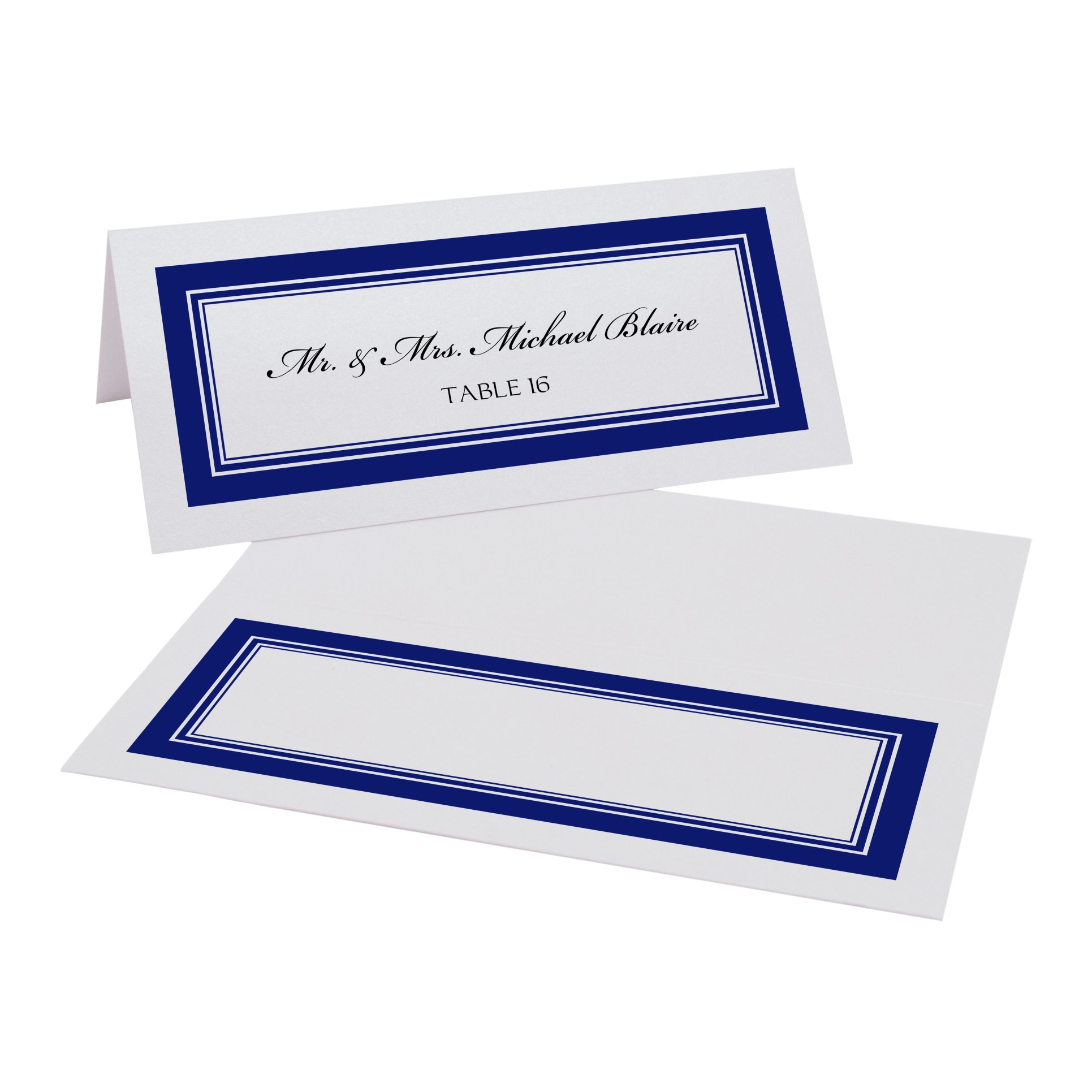 Triple Line Border Place Cards, White, Navy, Set of 375 by Documents and Designs