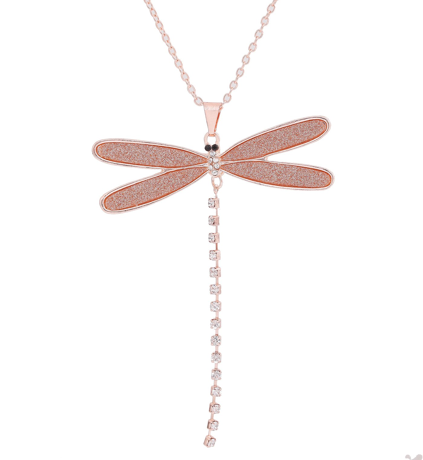 YEYA Long Necklace For Women Girls Druzy Dragonfly Pendant Necklace Charm Rhinestone Tassel Necklace Statement Jewelry Necklaces (rose gold)