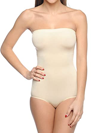 3c3023aaa Body Beautiful Seamless Strapless Bodysuit Shaper in Shiny Yarn at ...