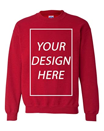 b91a0b09e Add Your Own Text Design Custom Personalized Crewneck Sweatshirt (Small,  Antique Cherry Red)