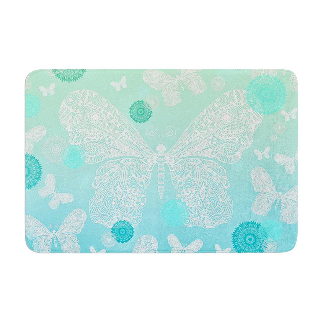 17 by 24 Kess InHouse Monika Strigel Butterfly Dreams Mint Aqua Teal Memory Foam Bath Mat