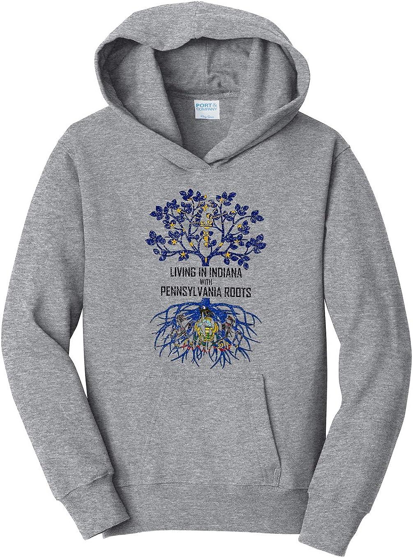 Tenacitee Girls Living in Indiana with Pennsylvania Roots Hooded Sweatshirt