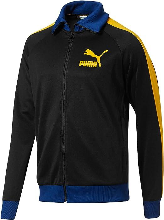 857e29eadc586 PUMA Men's T7 Vintage Track Jacket Black/Spectra Yellow/Sodalite ...