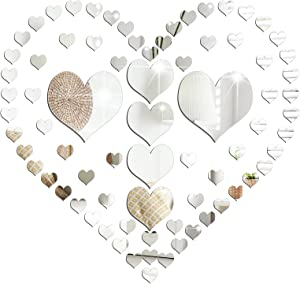 76 Pieces Love Shape Mirror Sticker Acrylic Love Shape Decal Setting Wall Sticker Geometric Art Love Shape Mirror Tiles Crystal DIY Removable for Home Kitchen Living Room TV Background Decor