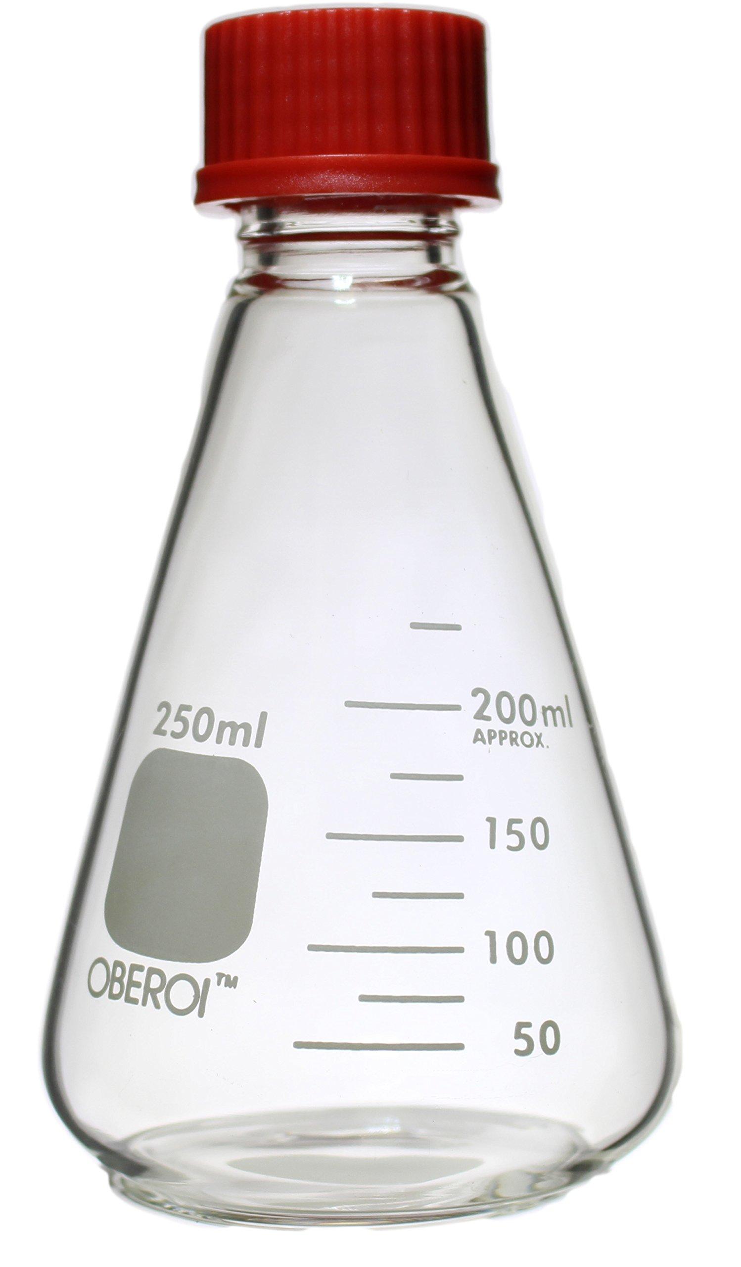 Erlenmeyer Flasks with Screw Caps Set, 1000 mL, 500mL, 250 mL, 100 mL, Graduated Borosilicate 3.3 Glass by Oberoi Laborglas (Image #3)
