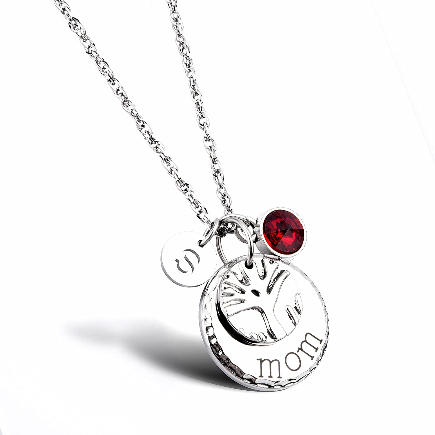 Mom Family Tree Necklace Personalized Mother Necklace With Birthstones Crystal Initial Charm Christmas Gift For Mom Wife Aunt Grandma Mother S Day