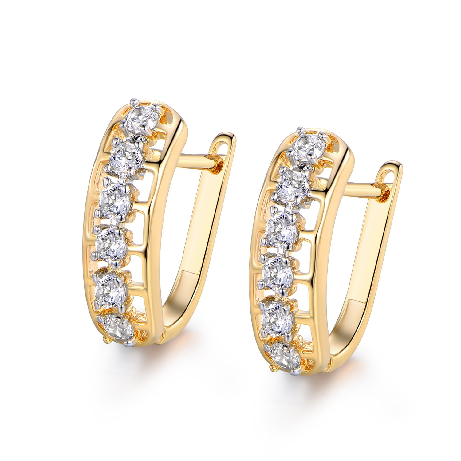 MASOP Round Huggie Hoop Earrings With 6 Crystal Cubic Zirconia Gold