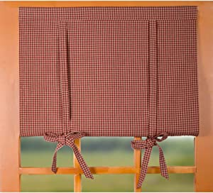 Home Collections by Raghu Barn Red-Oat Newbury Gingham Roll Tie Valance