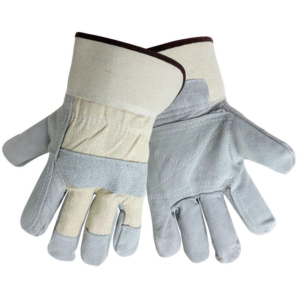 Washable PE Cuff Global Glove 2250DP-XL Good Grade Gunn Cut Leather Double Palm Canvas Back 9 oz.