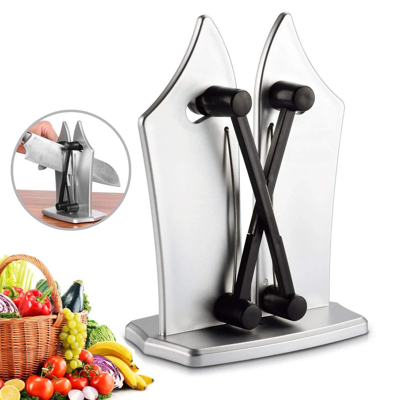 Nueva cocina Afilador Professional Cuchillo de cocina con dos ajustable bordes de sacapuntas Acero para dentada y recto Knives de SHARPENS Dull ...