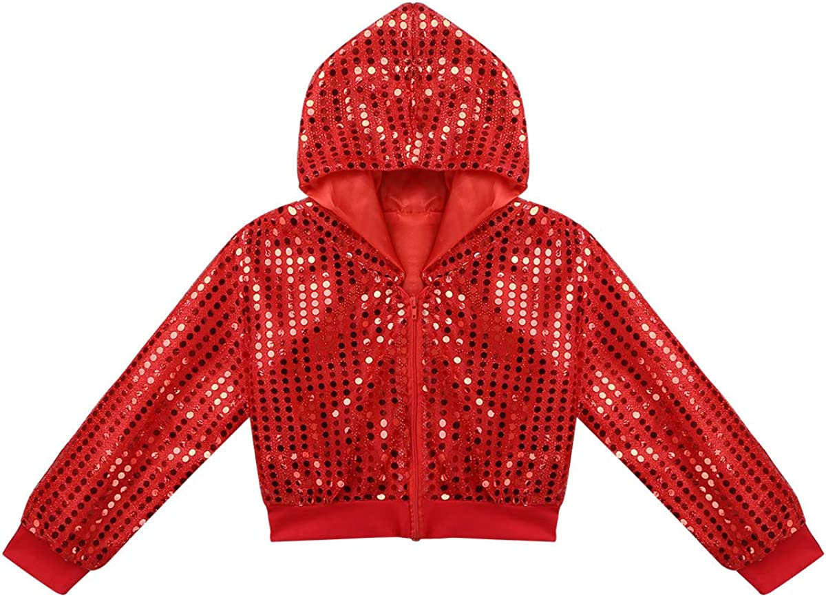 zdhoor Kids Boys Girls Sequins Jazz Hip-hop Dance Outfit Long Sleeves Performance Costume Hooded Tops with Pants