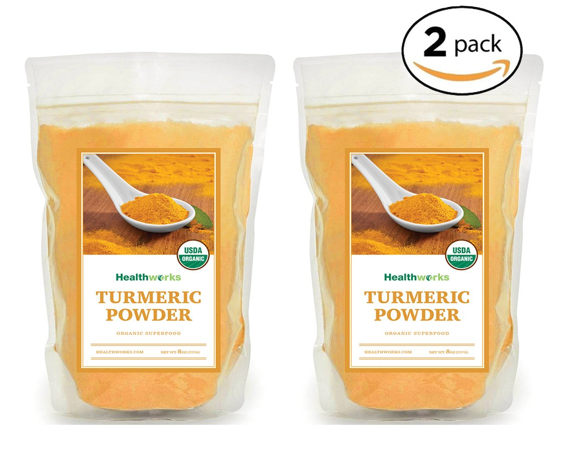 Healthworks Turmeric Root Powder (Curcumin) Organic, 1lb (2 8oz Packs)