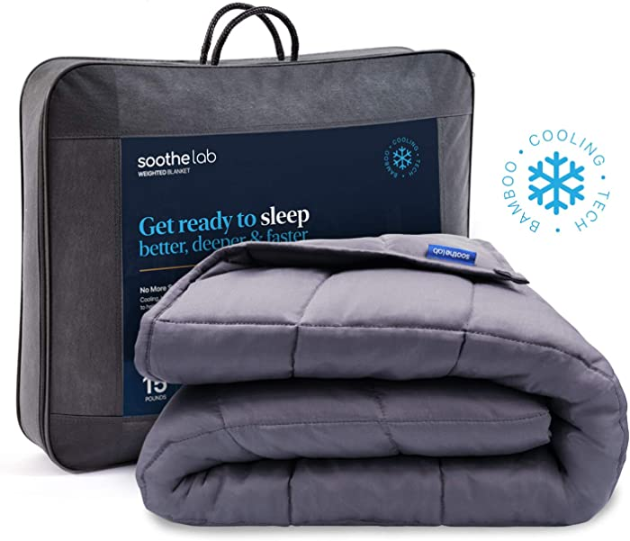 "Soothe Lab Cooling Weighted Blanket | 100% Bamboo Viscose | 15 lbs for 110-170 lbs Individual, 60""x 80"", Queen Size 