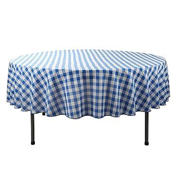E Tex 90 Inch Round Polyester Tablecloth Blue U0026 White Checker