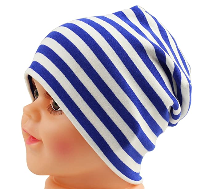 9e7cafdffaf Amazon.com  JAKY Global Cotton Kids Beanie Hat for Cute Baby Boy Girl  Toddler Ribbed Knit Children Winter Cap(Blue White(1pcs)  Clothing