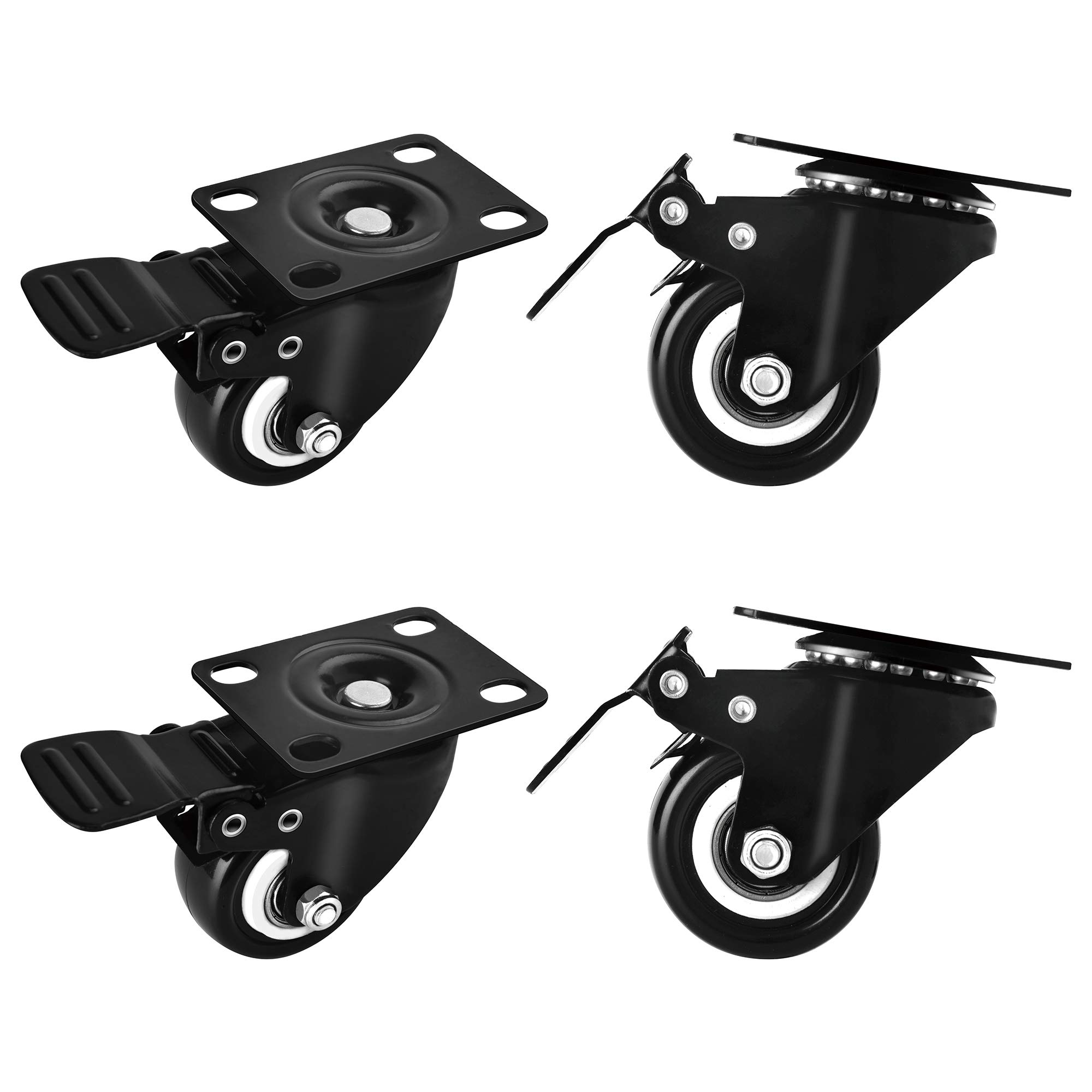 Moogiitools 2'' Swivel Rubber Caster wheels with Safety Dual Locking Heavy Duty 600lbs Set of 4 with Brake
