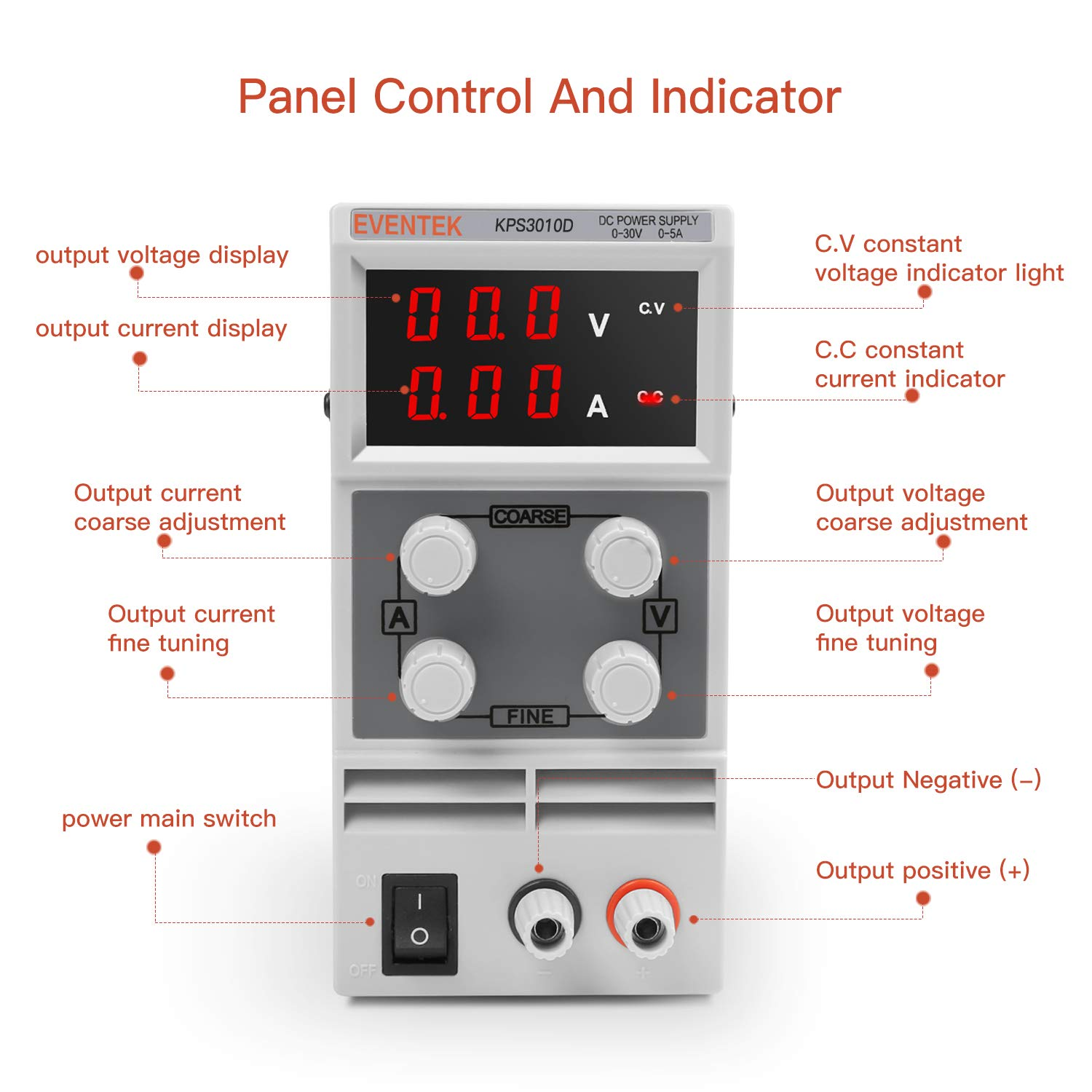 Dc Power Supply Variable 0 30 V 10 A Eventek Kps3010d Circuit Ac Line Powered Led Pilot Light Circuits Designed By David Adjustable Switching Regulated Digital With Alligator Leads Us Cord Used For