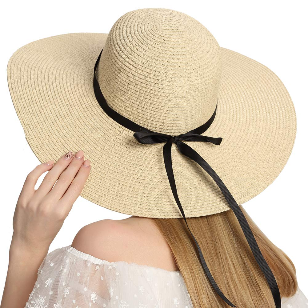 c096f5a0c Roniky Womens Wide Brim Sun Bowknot Beach Hat Packable Sun Protection Straw  Hat UPF50