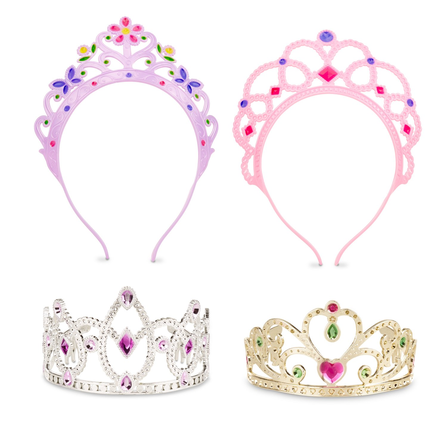 Melissa & Doug Dress-Up Tiaras for Costume Role Play (4 pcs) 8525