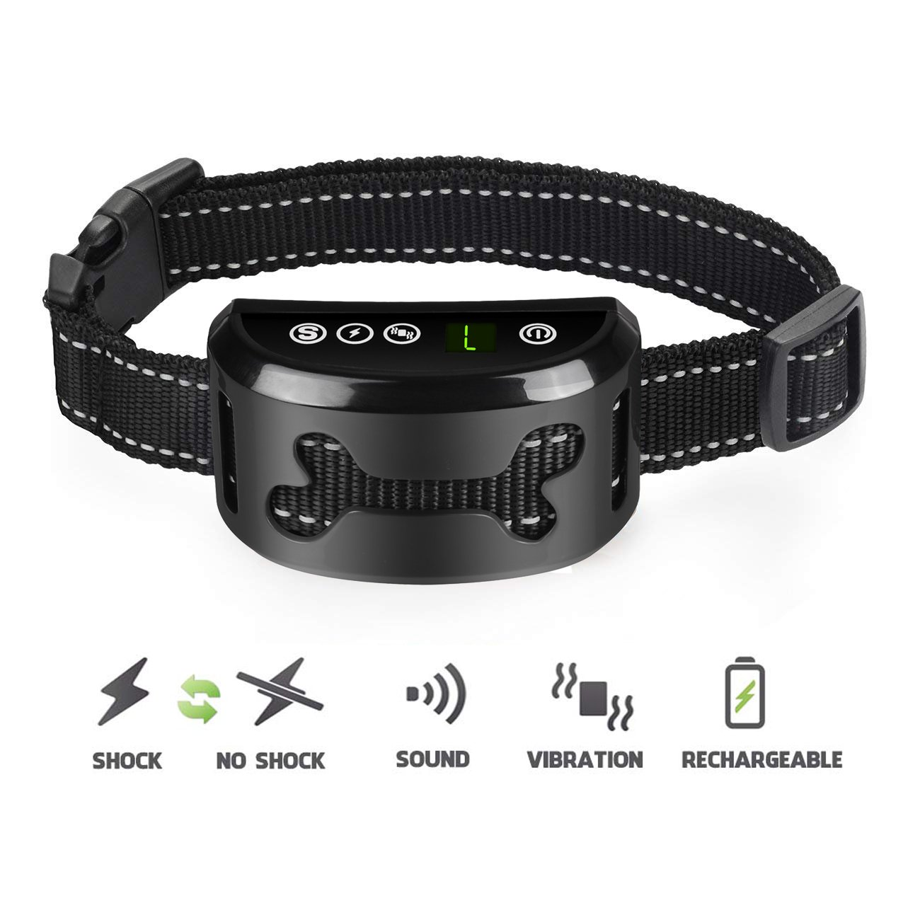 POP VIEW Dog Bark Collar with Static Vibration Correction, USB Rechargeable with 4 Training Modes for All Breeds and Sizes