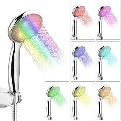 Soffione Doccia Led Multicolore.Iwilcs Soffioni Per Doccia Led Multicolore Rgb A 7 Colori Con Cambio Automatico