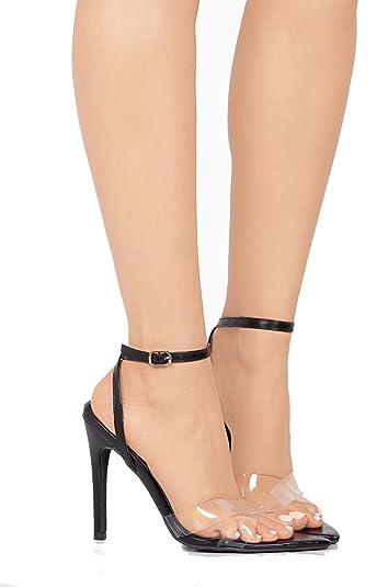 c308a580cd6 Michelle Parker Cape Robbin DoubleCross Black Pointed Open Toe Transparent  Clear High Sandal (6)
