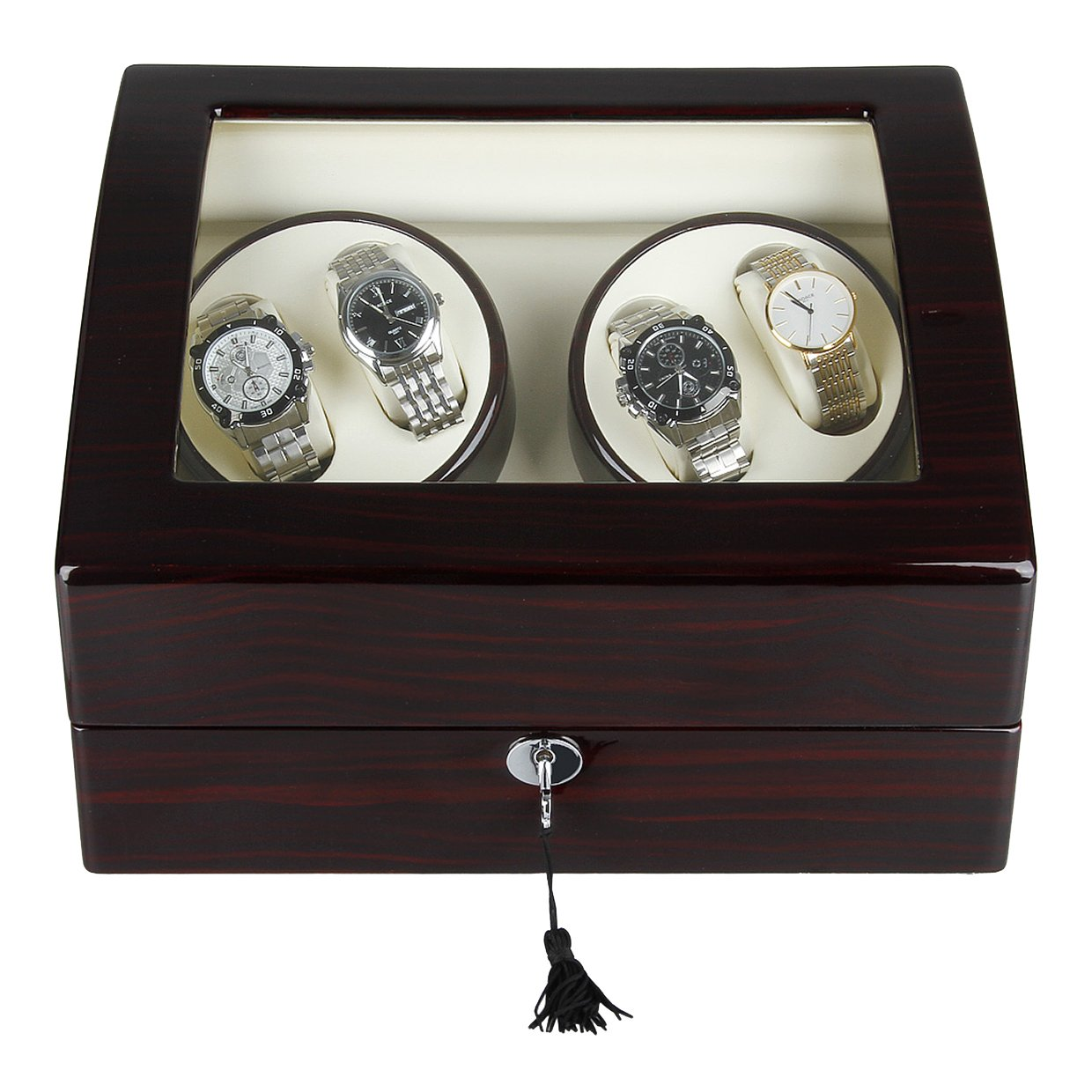 Excelvan Automatic Watch Winder Wooden Box Piano Paint with 4 Rotation Modes (Brown Wooden Box 4+6)