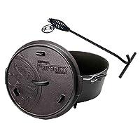 Schmortopf Holzkohlegrill Petromax klein schwarz Gusseisen Charcoal Grill Garten Camping Picknick ✔ rund