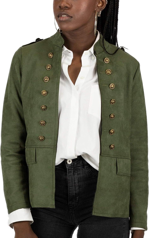 Mer's Style - Chaqueta Cazadora Militar de Ante, para Mujer