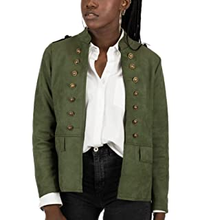 Mers Style - Chaqueta Cazadora Militar Efecto Ante, Mujer