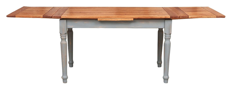 Tavolo allungabile in legno massello di tiglio Stile Country Struttura grigio anticato piano finitura naturale 160x90x80 cm