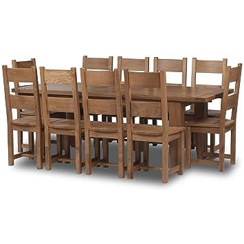 Superieur Calgary En Chêne Massif Deluxe 180 Cm 230 Cm Enroulement Table 10 Chaises  De Salle à Manger   10 Places Ensemble ...