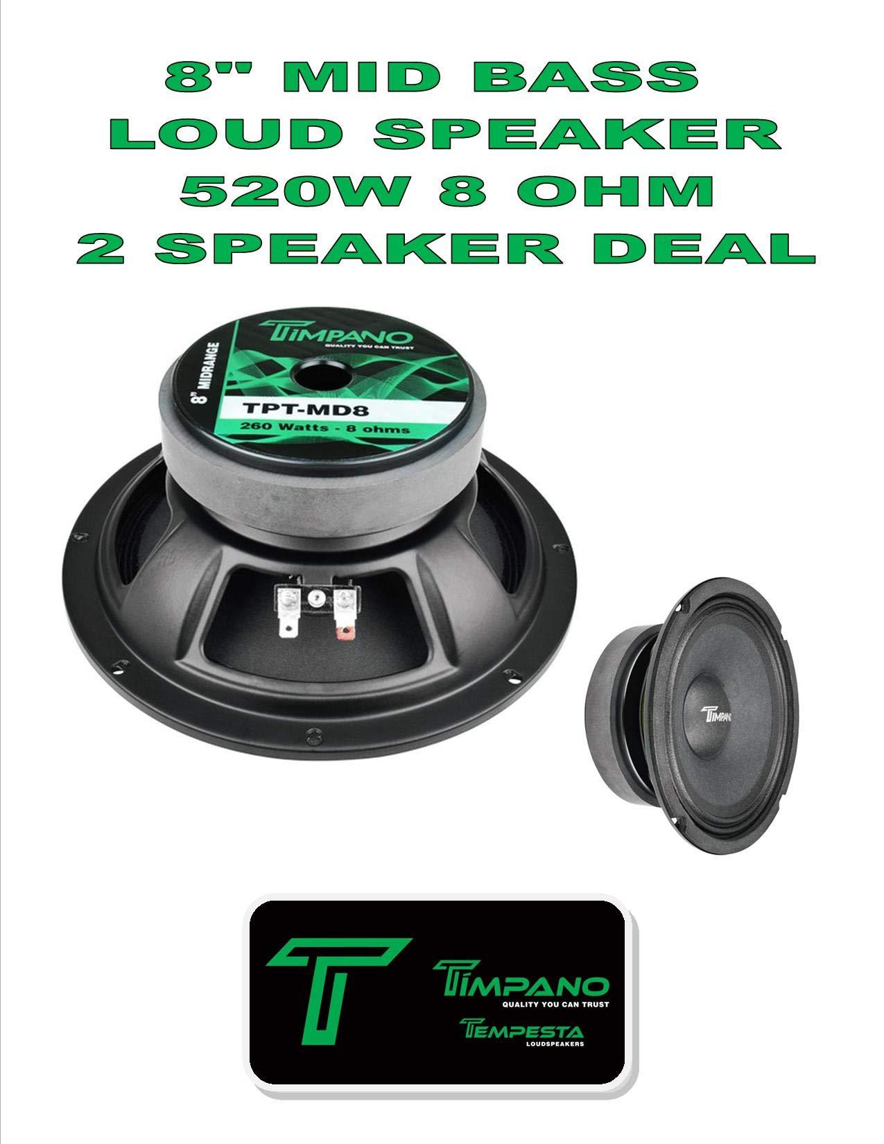 (2) Timpano TPT-MD8 Full Range Mid Bass Loud Speaker 8'' 8 Ohm (520W Peak) Pair