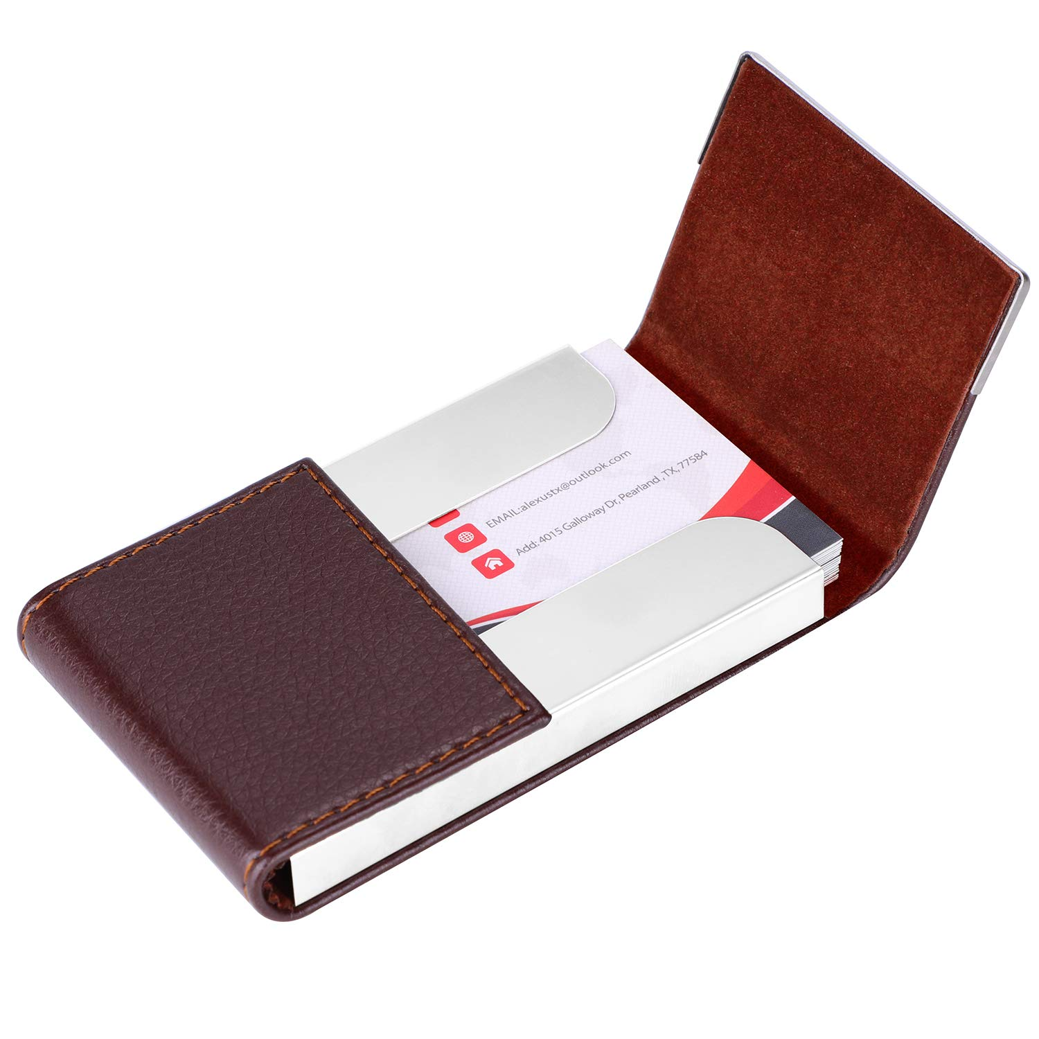 6c0d54223e37 MaxGear PU Leather Business Card Holder Name Card Case Credit Card Holder  Magnetic Shut Double Side Open Card Case Professional Business Card Holder  for ...