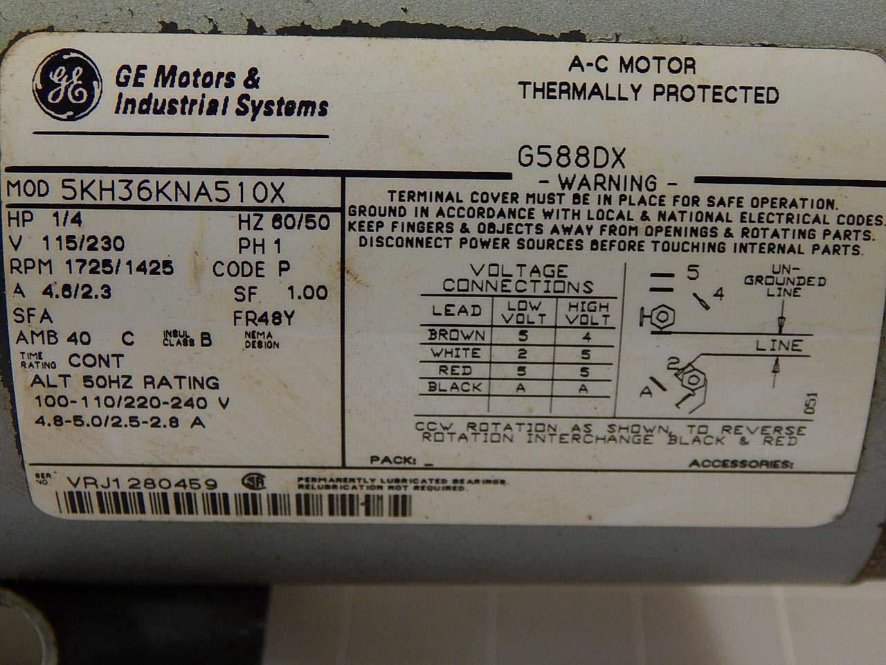 Gast 0523-504Q-G588DX, 5KH36KNA510X Vacuum Pump 1/4 HP 115/230 V 1 ...