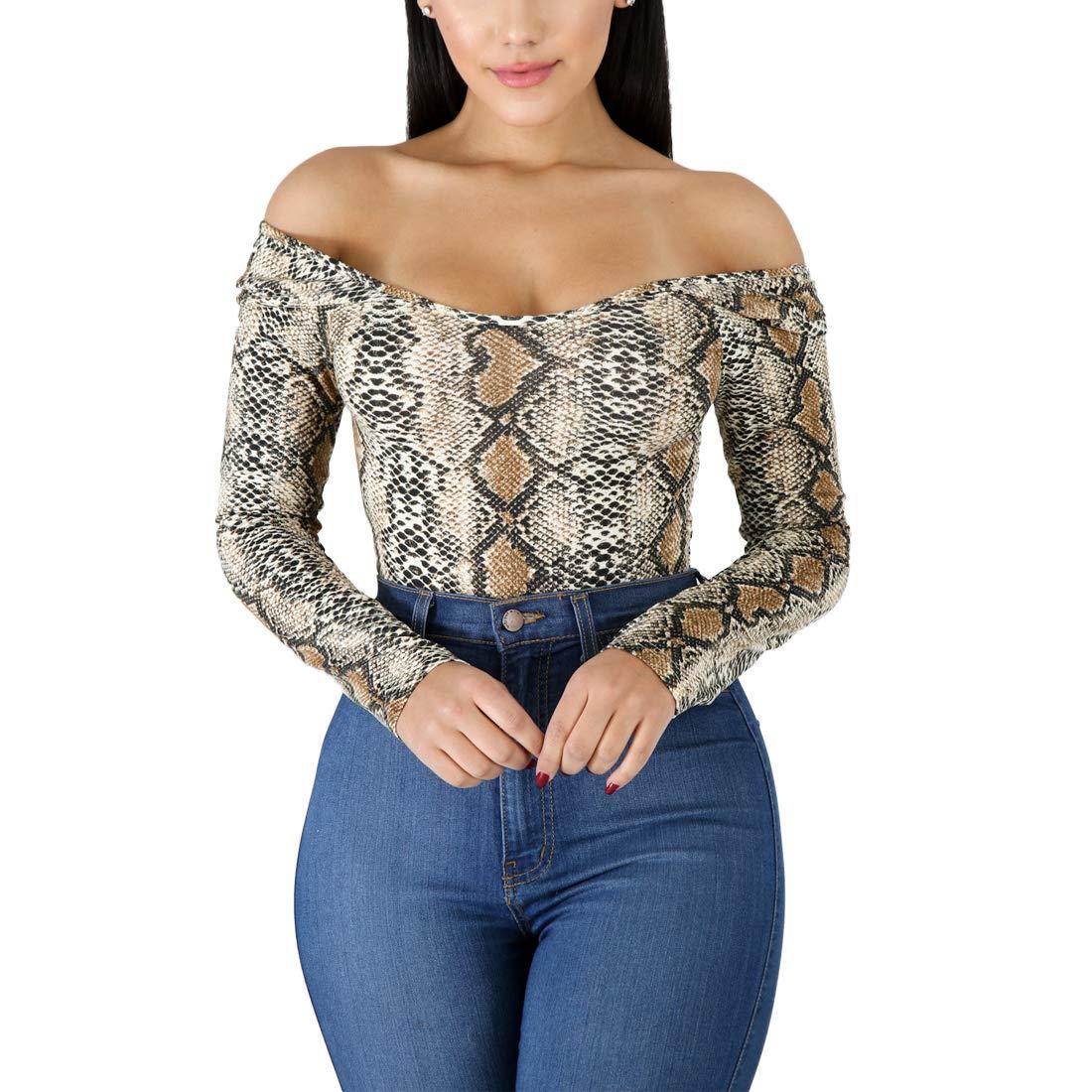 c07d6ec8e806 Amazon.com: Weigou Women Jumpsuits Rompers Leopard Leotard Long Sleeve  Square Collar Bodysuit Women: Clothing