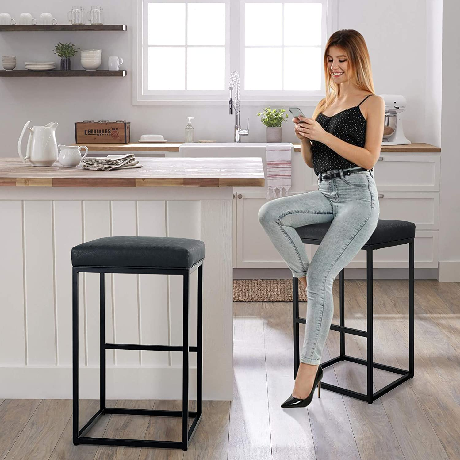 best backless industrial stool, metal backless bar stool with industrial style