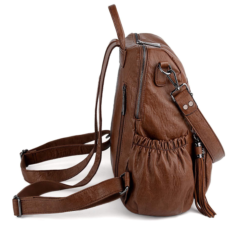 UTO Kvinnor PU-läder ryggsäck dam axelväska 3 sätt ryggsäck handtag axelrem flera fack robust dragkedja stöldskydd ficktofsar Gulbrun brun