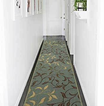 Delightful Ottomanson Otto Home Contemporary Leaves Design Modern Runner Rug With  Non Skid Rubber Backing,