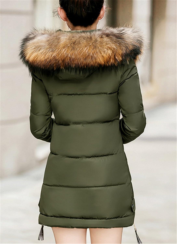 YOJAP Damen Herbst Winter Jacke Damen Warmer Wintermantel Winterjacke mit Hochwertigem  Kunst Fellkapuze Lang Parka  Amazon.de  Bekleidung 8d6dde4c0f