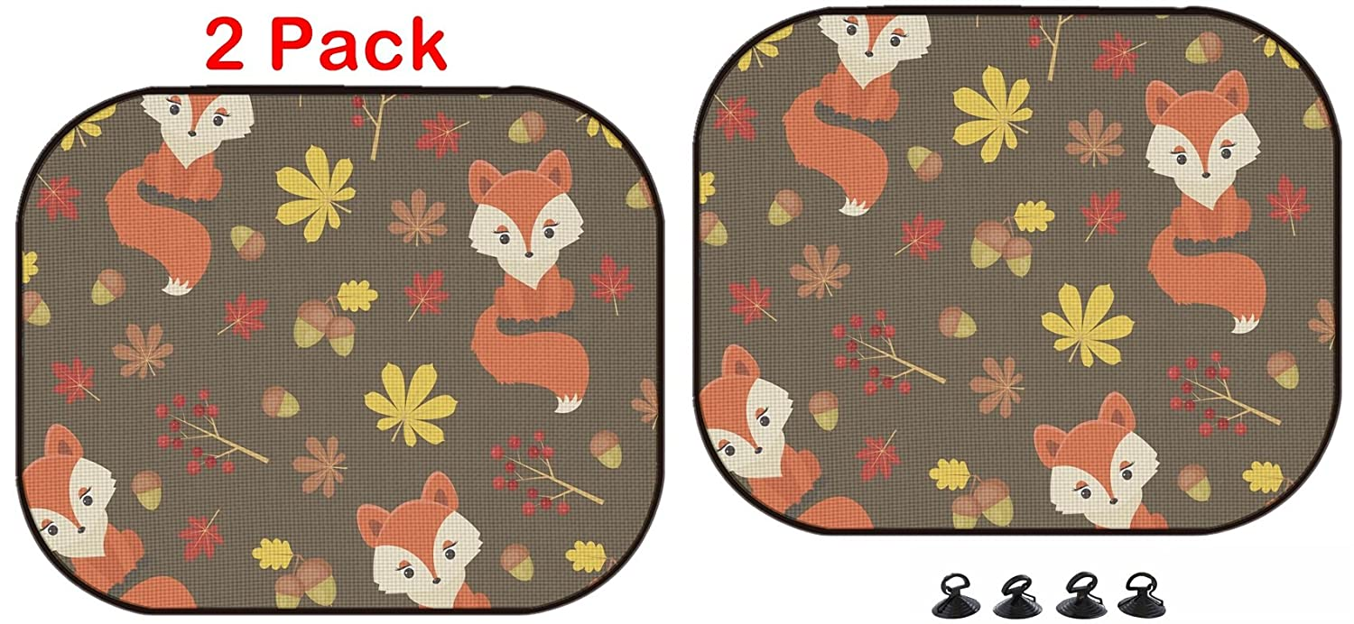2 Pack ID Luxlady Car Sun Shade Protector Block Damaging UV Rays Sunlight Heat for All Vehicles 44581513 Cute Little Fox in Autumn Forest Seamless Pattern