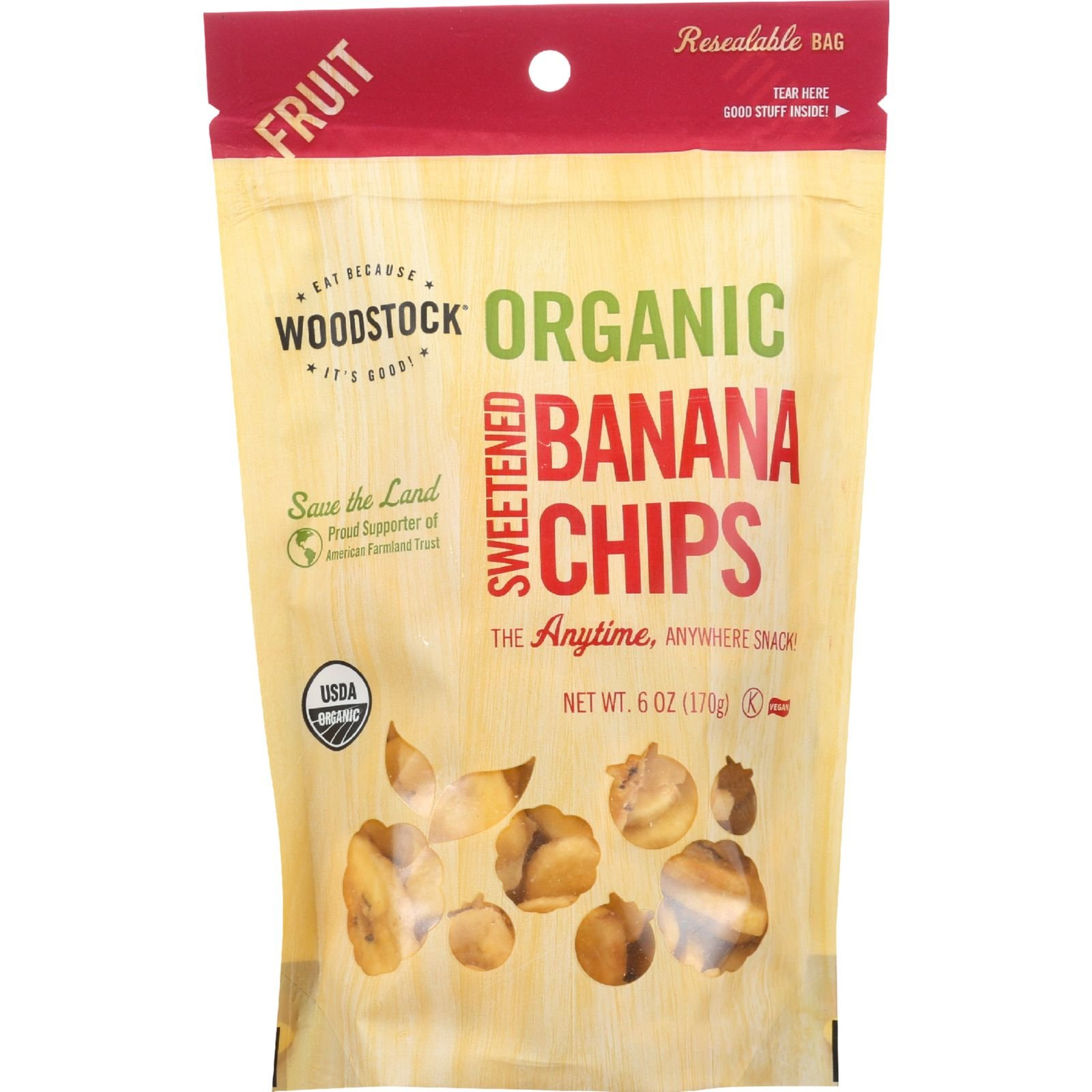 Woodstock Fruit- Organic - Banana Chips - Sweetened - 6 oz - case of 8 by Woodstock (Image #1)