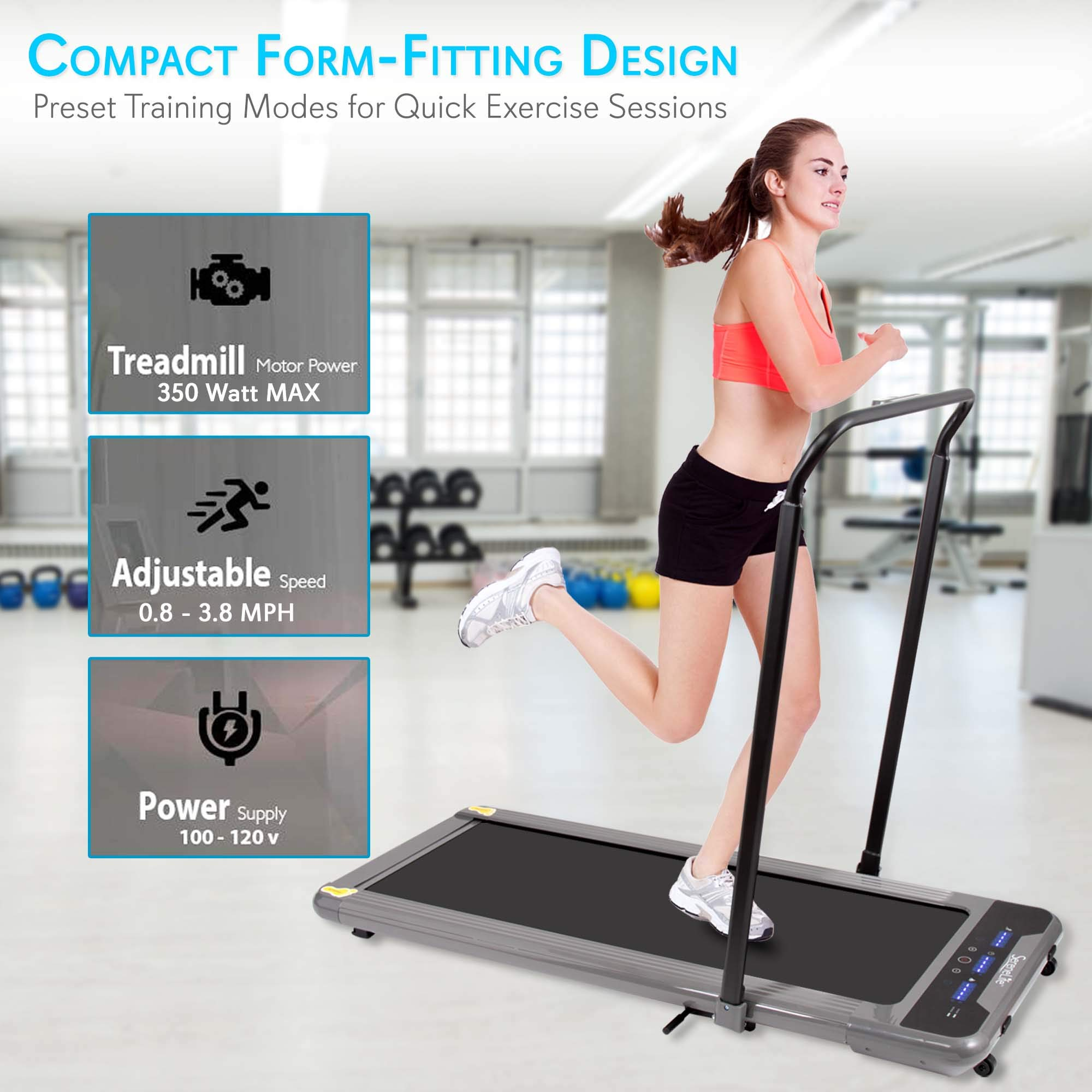 "SereneLife 350W Low Speed Fitness Treadmill - Smart Digital Slim Folding Electric Indoor Home Gym Foldable Fitness Exercise Running Machine - 40.0"" x 14.3"" Belt, Safety Key, Remote Control SLFTRD50 by SereneLife (Image #3)"
