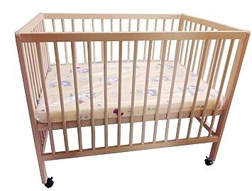Baby-Bett Gitterbett auf Rollen mit Matratze 100 x 70 cm ...